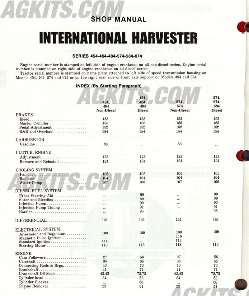 International Harvester Tractor Repair Manual