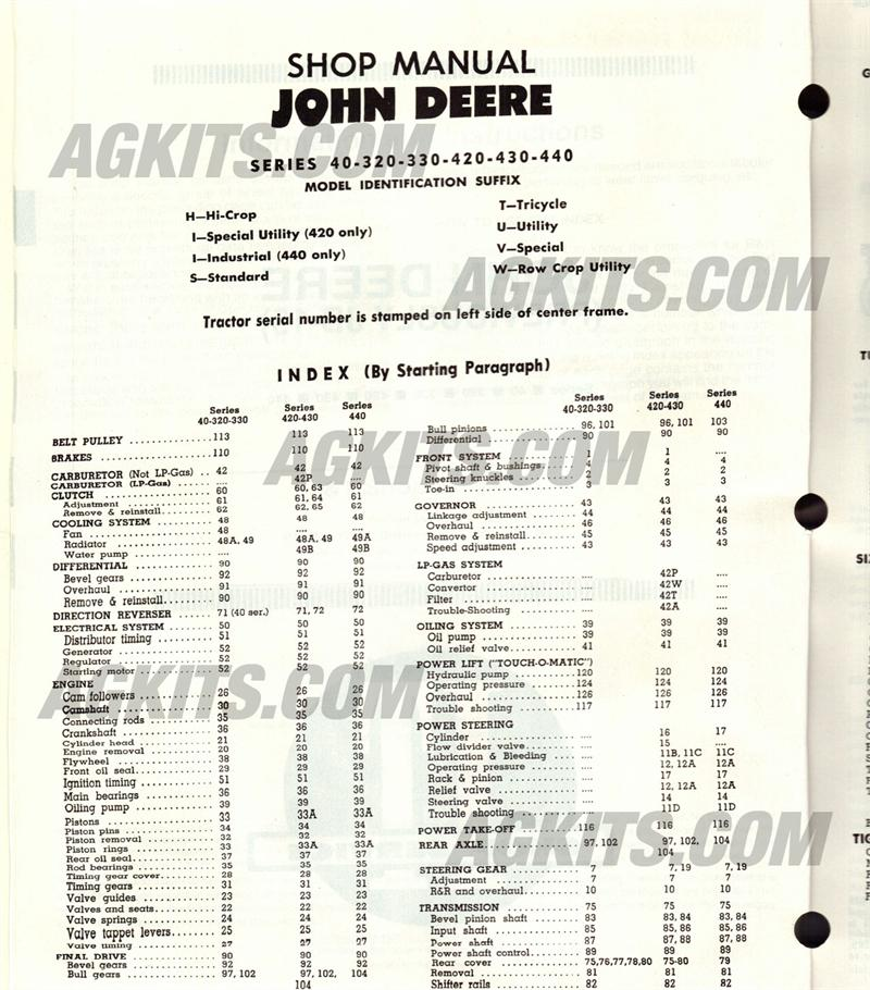 John Deere Tractor Repair Manual (JD201)