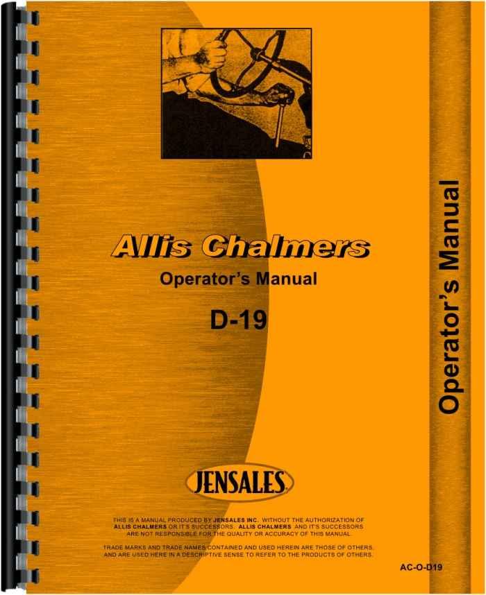 allis chalmers d19 tractor operators manual rh agkits com Allis Chalmers Shop Manual Allis Chalmers B Manual Online