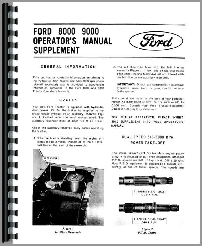 Ford 8000 Tractor Diagrams : Ford tractor operators manual