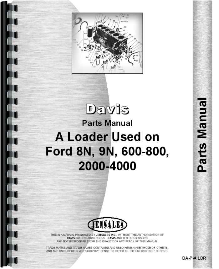 Ford 8n Davis A1 Loader Attachment Parts Manual