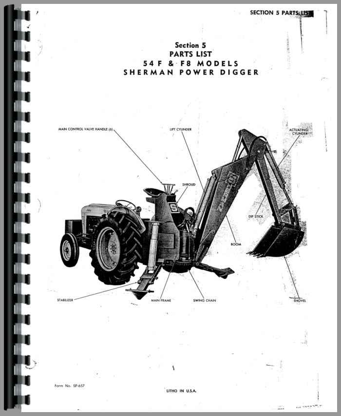 Ford Backhoe Parts List : Ford new major sherman f backhoe attachment parts manual