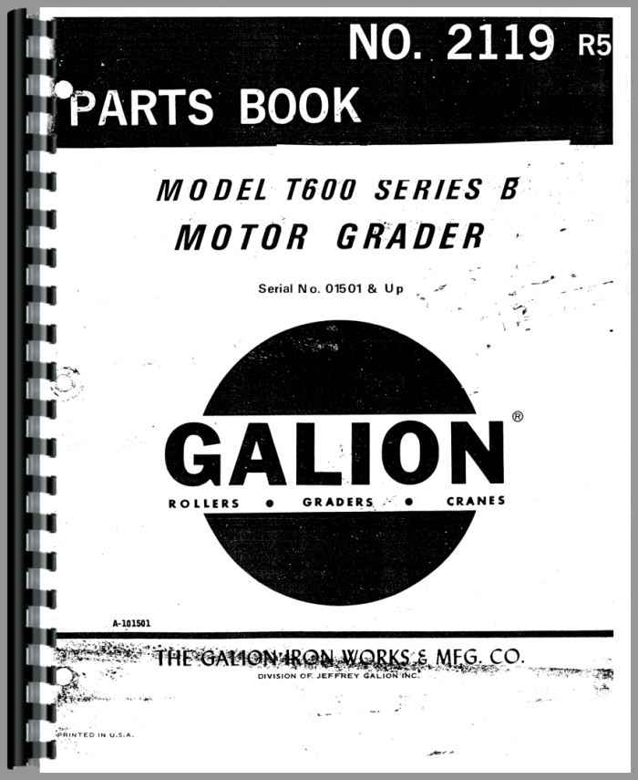 Galion T 600B Grader Parts Manual