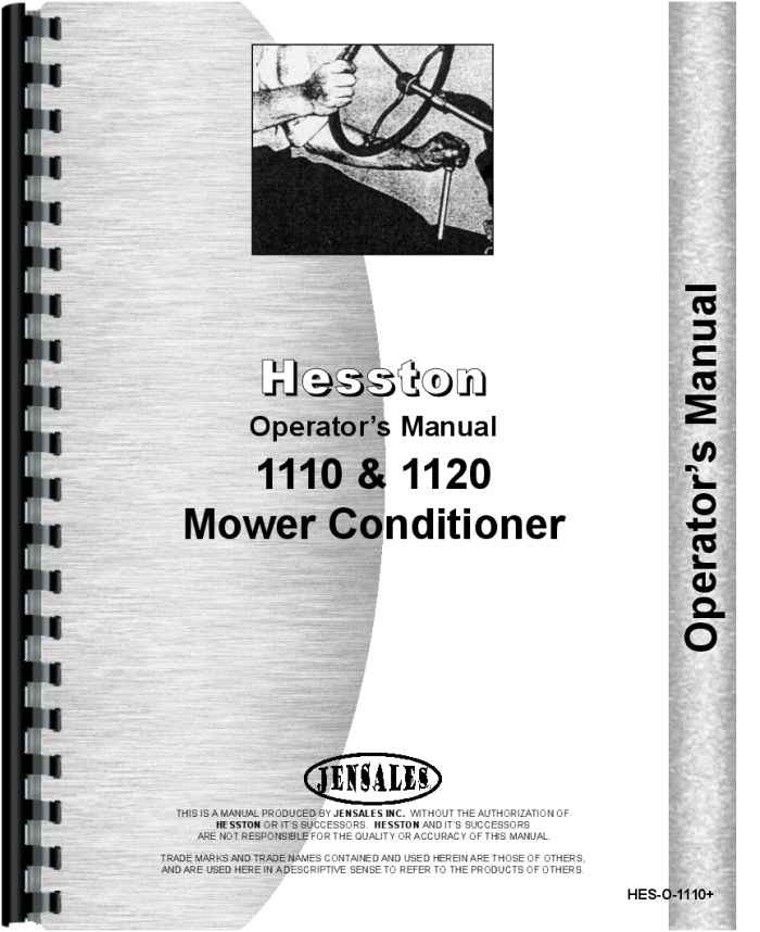 hesston 1120 mower conditioner operators manual rh agkits com Hesston 1120 Parts Manual Hesston 1120 Specs