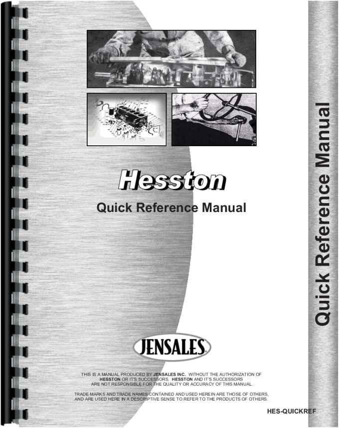 hesston 160 90 quick reference service manual rh agkits com Hesston 5540 Round Baler Specs Hesston 5540 Round Baler Specs