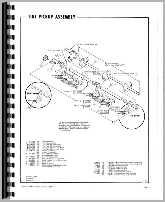 hesston 5580 round baler parts manual