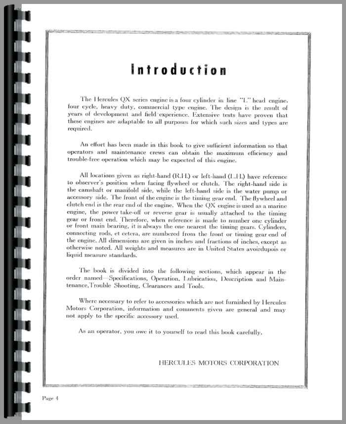 Hough HR Pay Loader Hercules Engine Service Manual