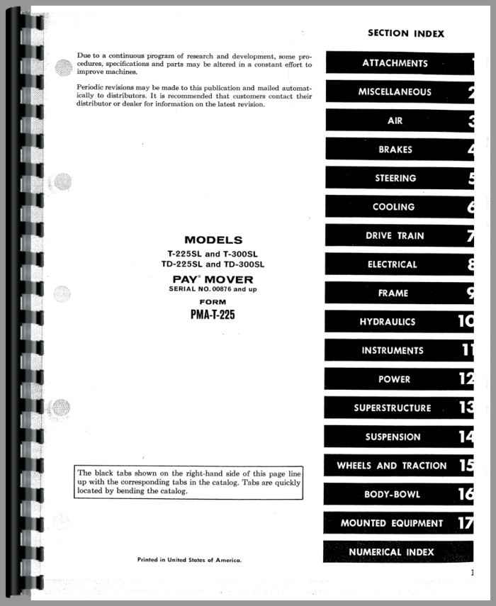 Hough T-225SL Paymover Tug Parts Manual