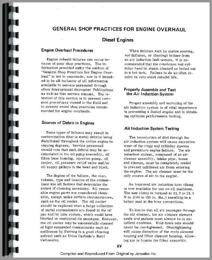 International Harvester 1086 Tractor Engine Service Manual