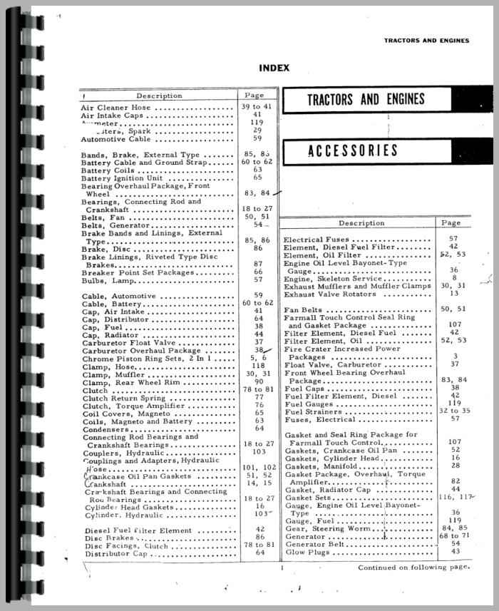 Farmall 140 Tractor Accessories Supplement Parts Manual