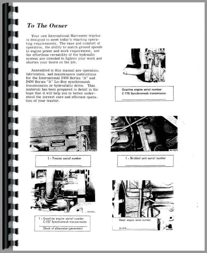 international harvester 2400a industrial tractor operators manual