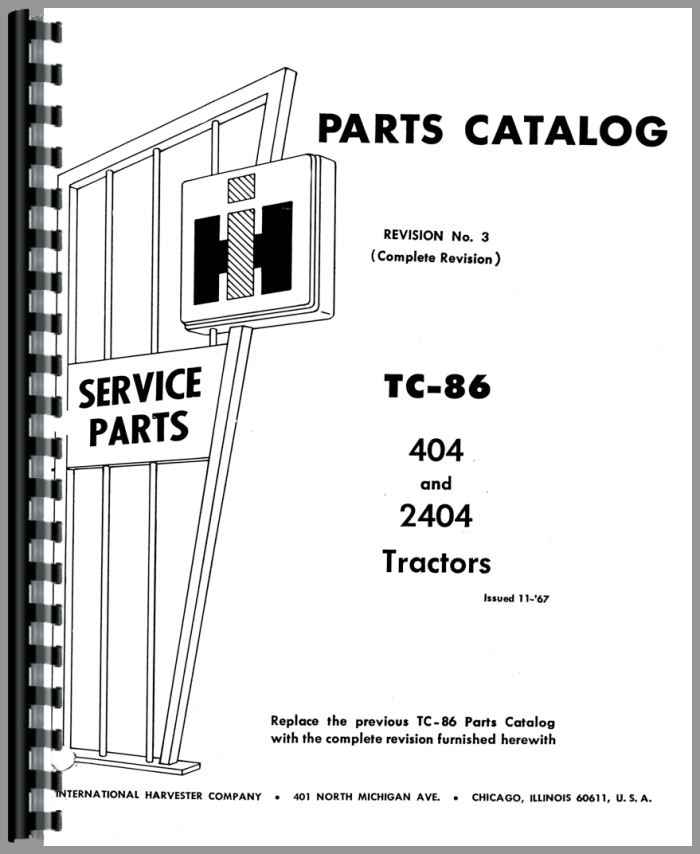 International Harvester 2404 Industrial Tractor Parts Manual