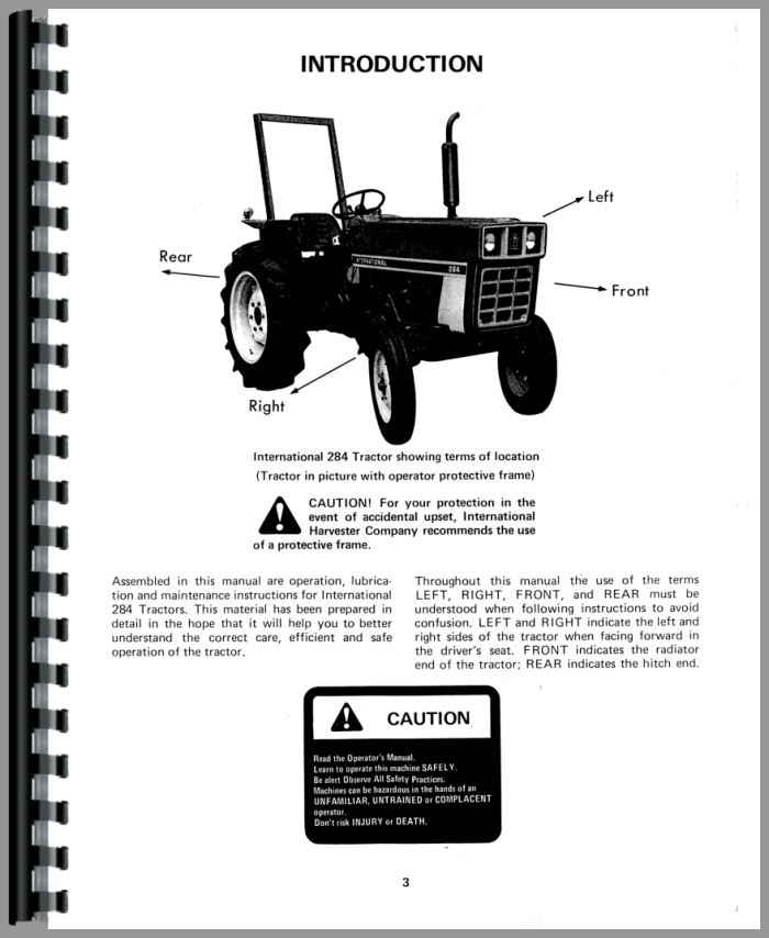 International 284 Tractor Parts : International harvester tractor operators manual