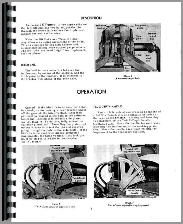 Ih 340 Utility Tractor Parts : Farmall tractor point hitch operators manual