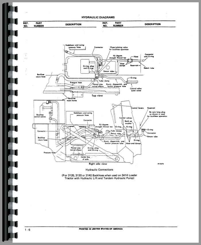 international harvester 3414 backhoe attachment parts manual