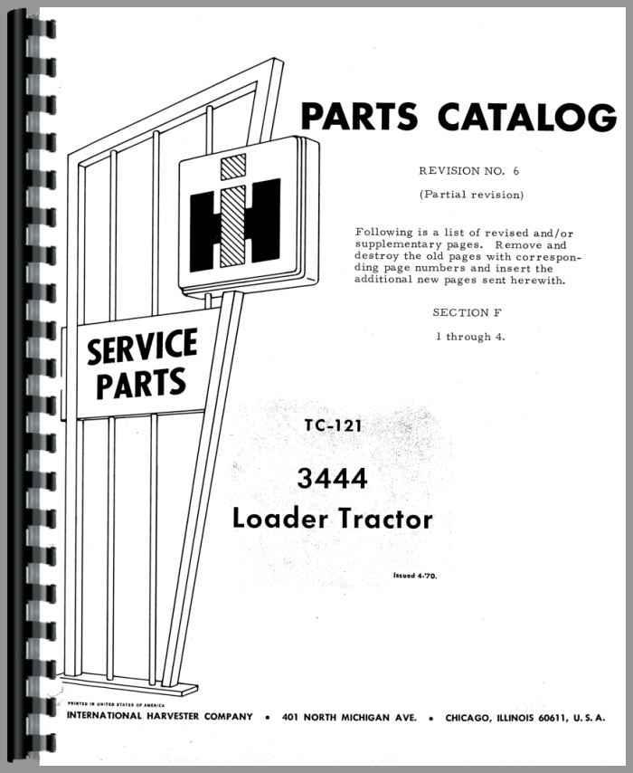 International Harvester 3444 Industrial Tractor Engine Parts Manual