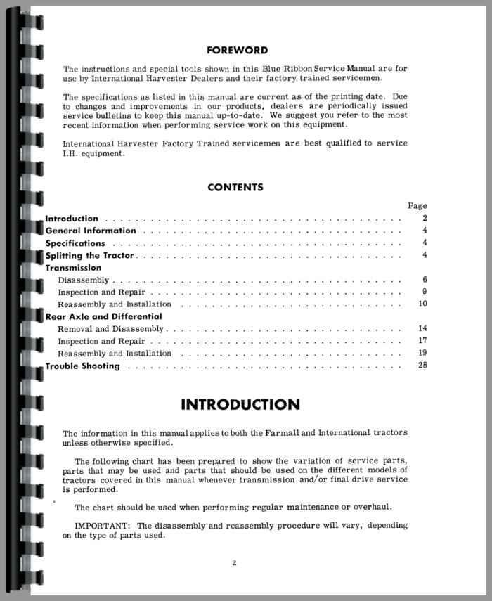 Farmall 400 Tractor Transmission & Final Drive Service Manual