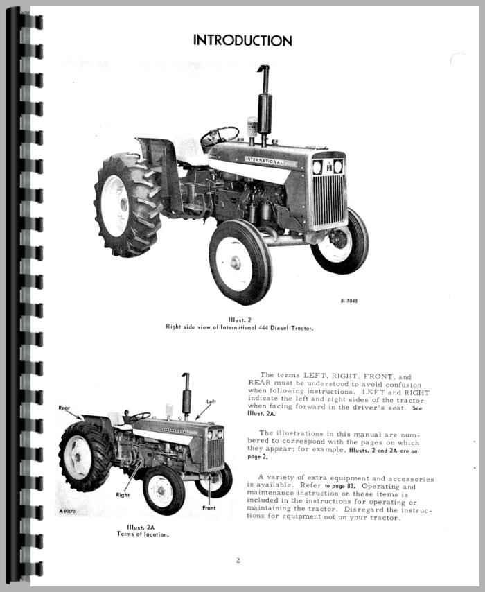 International Harvester 444 Tractor Parts : International harvester tractor operators manual