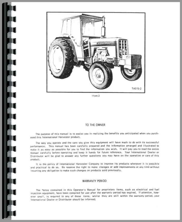International Harvester 454 Tractor Parts : International harvester tractor operators manual