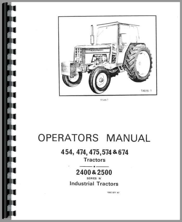 INTERNATIONAL TRACTOR 454 474 475 574 674 2400 2500 WORKSHOP SERVICE MANUAL