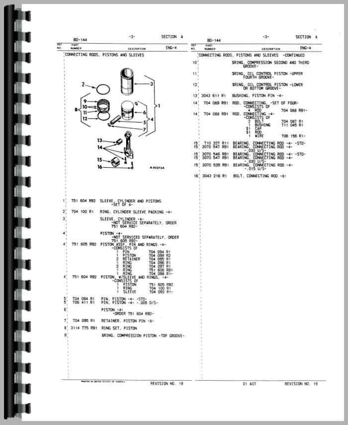 international harvester 544 tractor engine parts manual rh agkits com Engine Components Diagram Engine Breakdown Diagrams