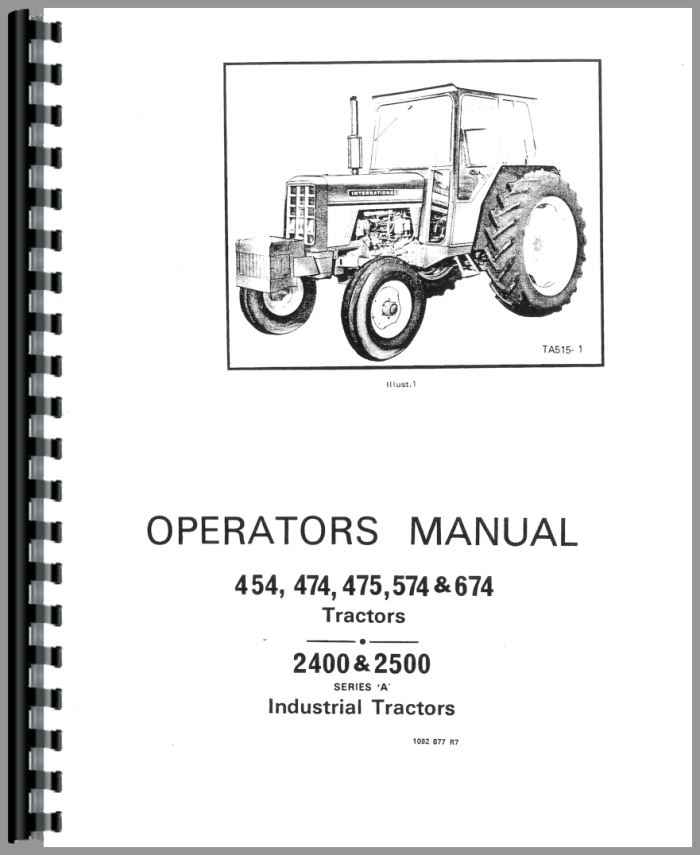 Farmall 574 Tractor Operators Manual Htih O454early