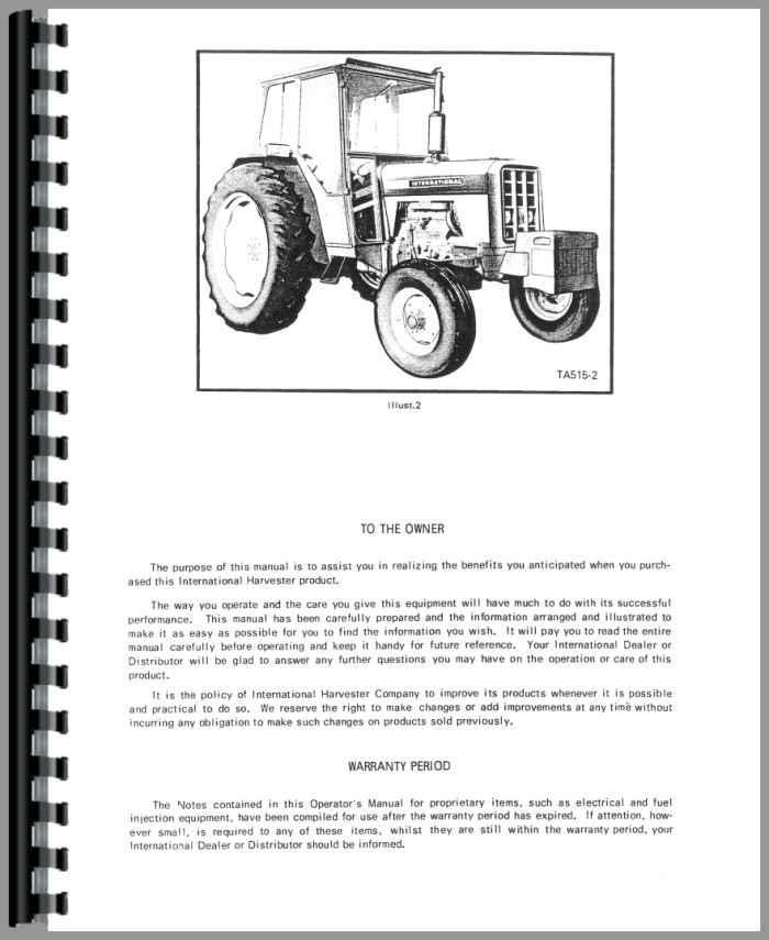 international harvester 674 tractor operators manual rh agkits com IH 674 Tractor Industrial Version 674 International Tractor Clutch Parts