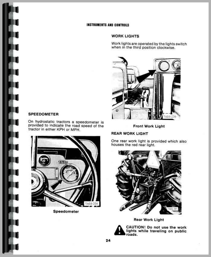 international harvester 784 tractor operators manual
