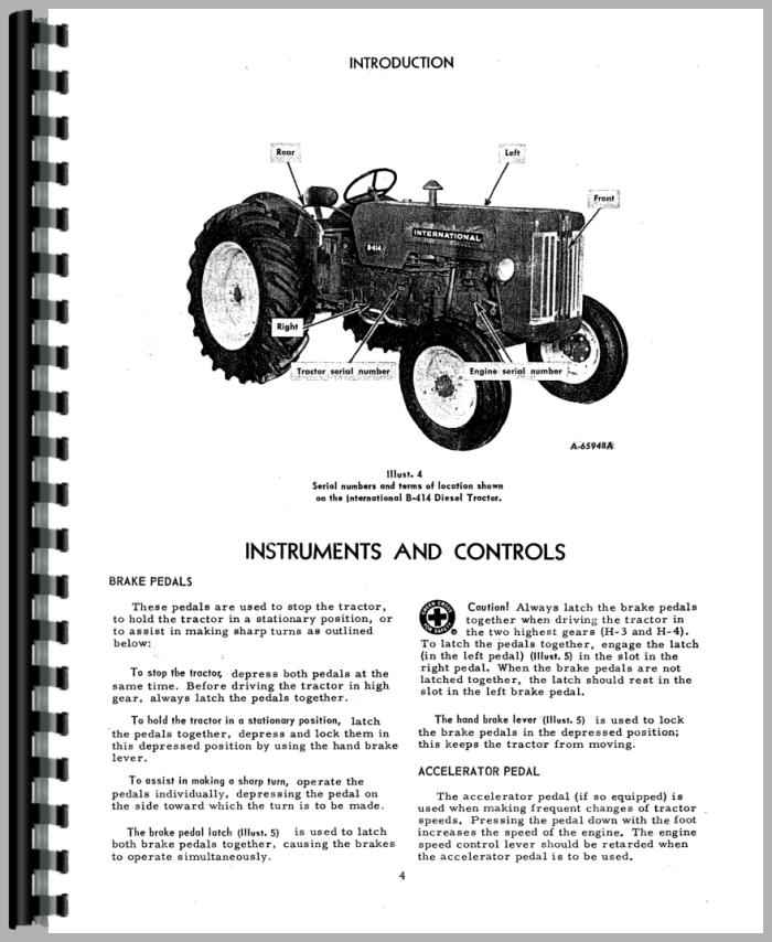international harvester b 414 tractor operators manual rh agkits com B414 International Tractor Lift Arms International B414 Seat