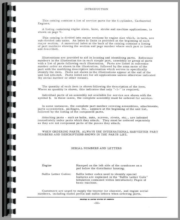 International Harvester C263 Engine Parts Manual