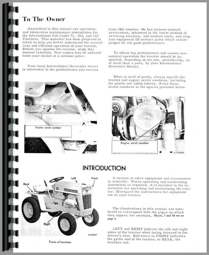 International Harvester Cub Cadet 71 Lawn & Garden Tractor Operators