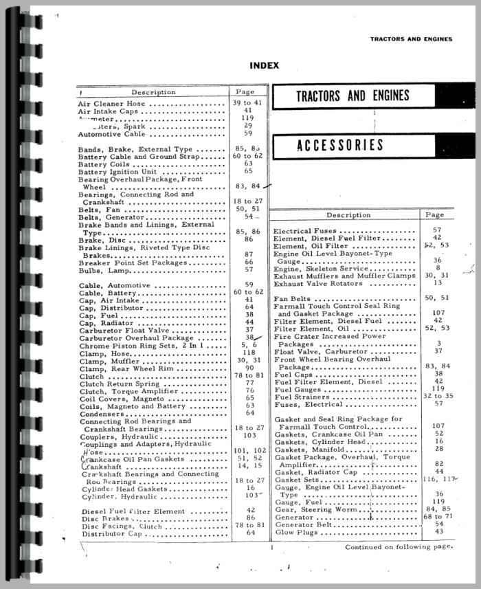 Farmall Super C Tractor Accessories Supplement Parts Manual