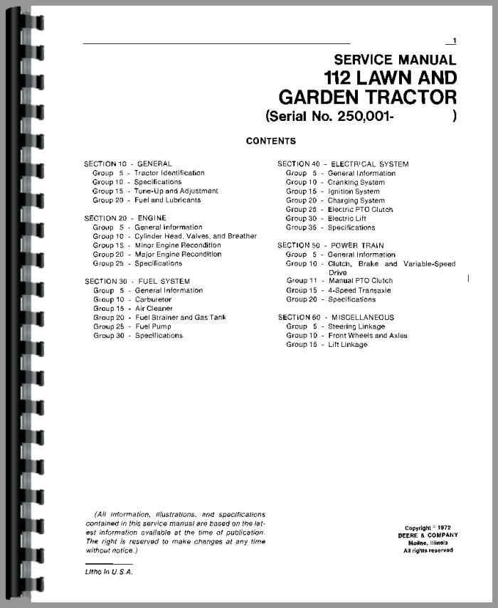 john deere lawn tractor manuals