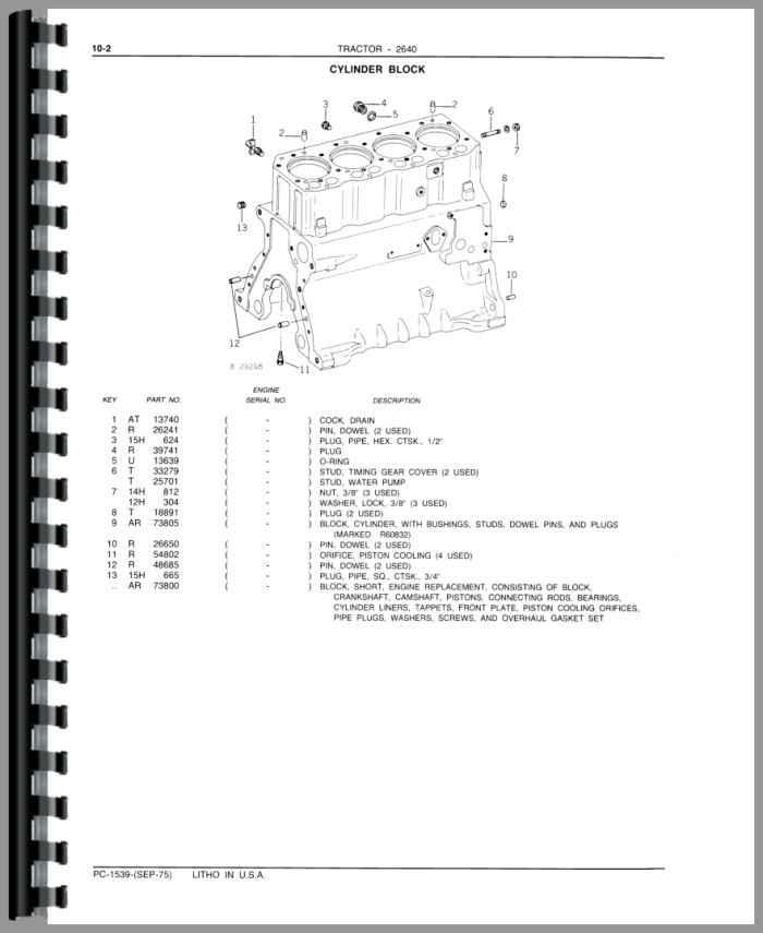 john deere 2640 tractor parts manual