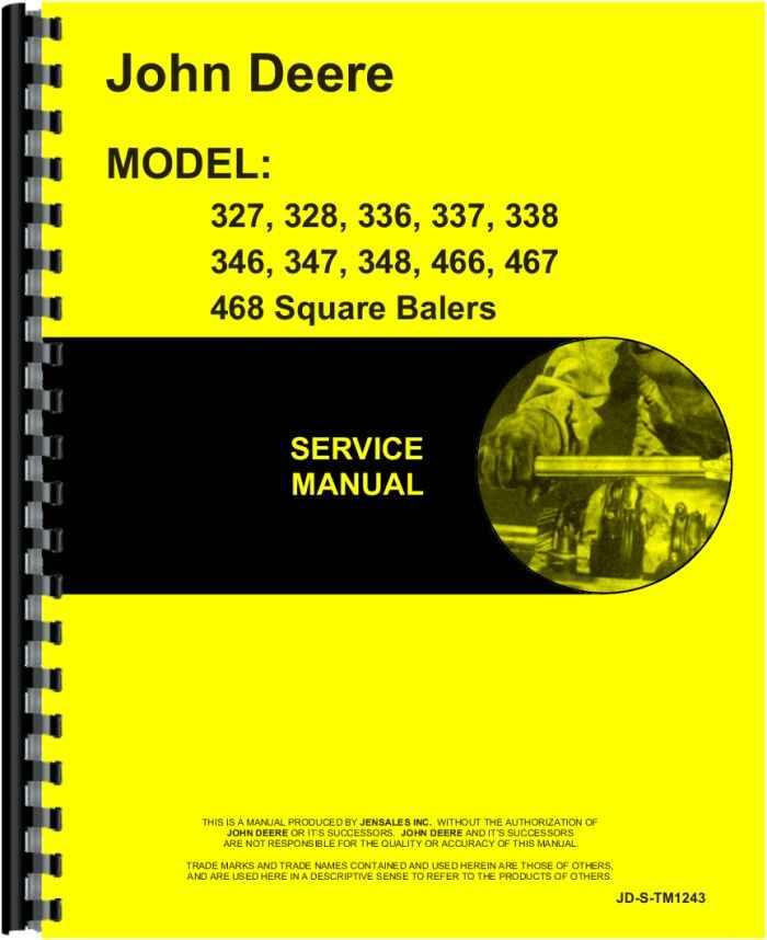 john deere 348 baler manual