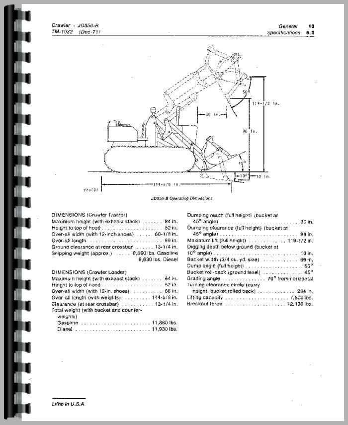 john deere 350 repair manual crawler tractor loader