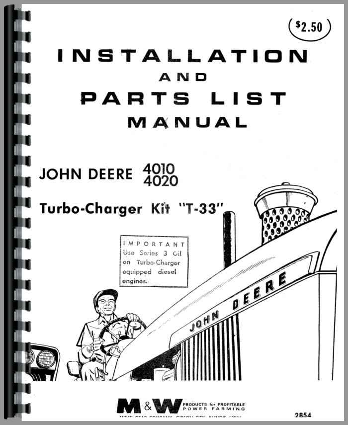 john deere 4010 tractor turbo kit operators  u0026 parts manual