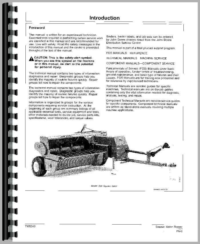 John Deere 468 Square Baler Service Manual