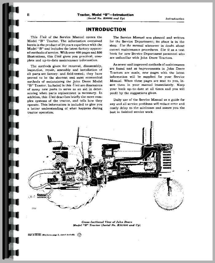 John Deere B Tractor Service Manual Manual Guide
