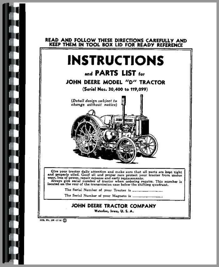 john deere d tractor operators manual rh agkits com john deere tractor manuals free john deere tractor manuals repair