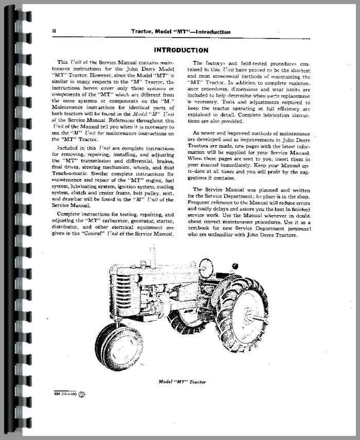 John Deere Tractor Service Manuals : John deere mt tractor service manual