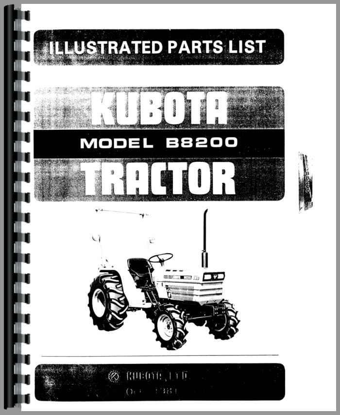 kubota b8200 tractor parts manual rh agkits com Kubota B8200 HST 4WD Tractor Kubota B9200 Tractor Engine