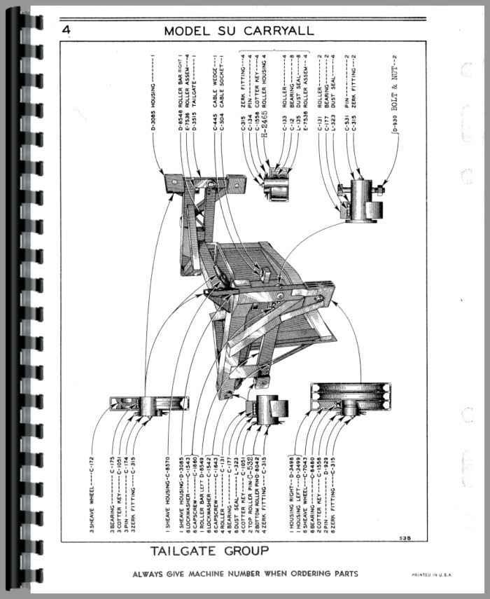 Le Tourneau W Carryall Scraper Parts Manual