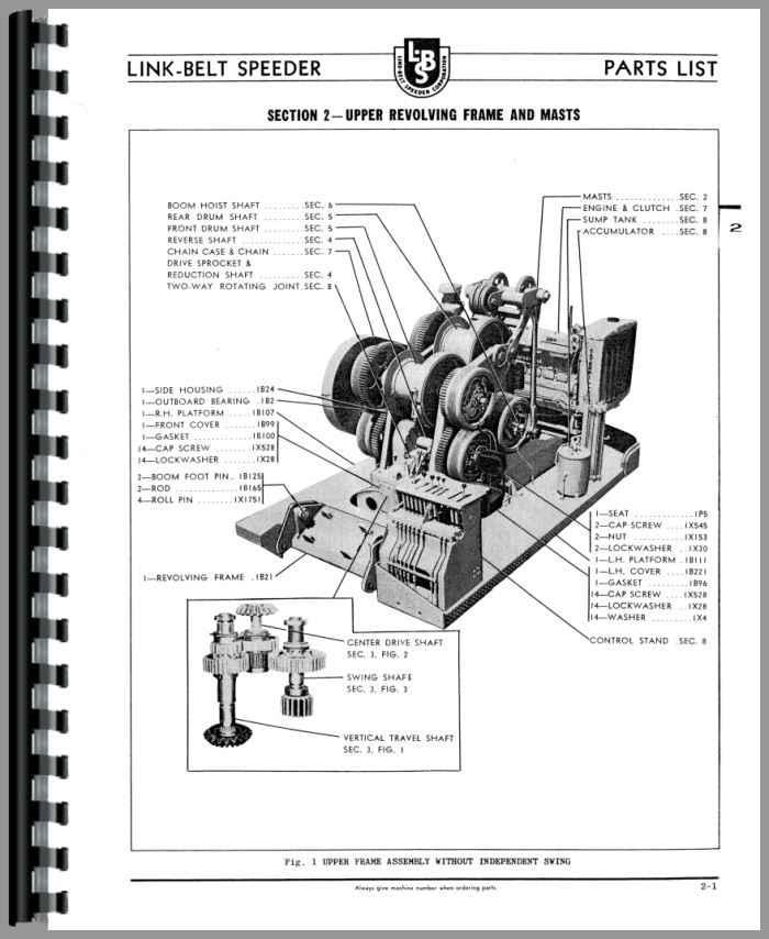 Spare Parts Link Belt Crane : Link belt speeder ls drag or crane parts manual