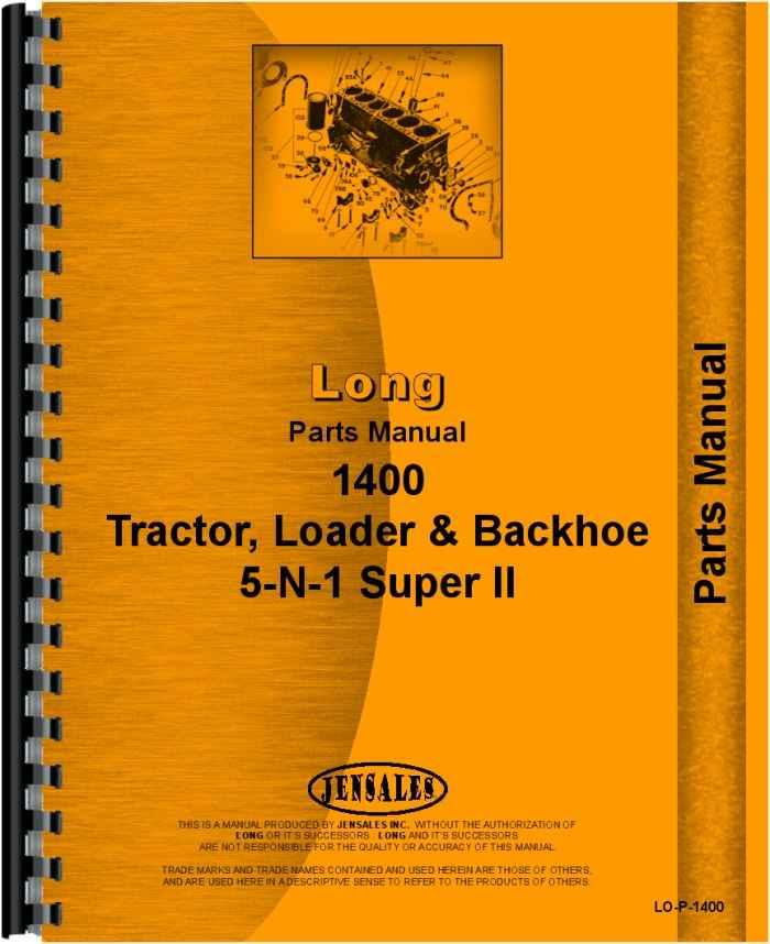 Long Backhoe Parts : Long tractor loader backhoe parts manual