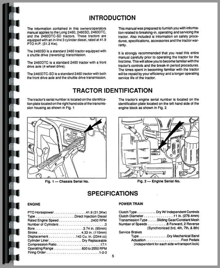 Long 2460 Tractor Operators Manual