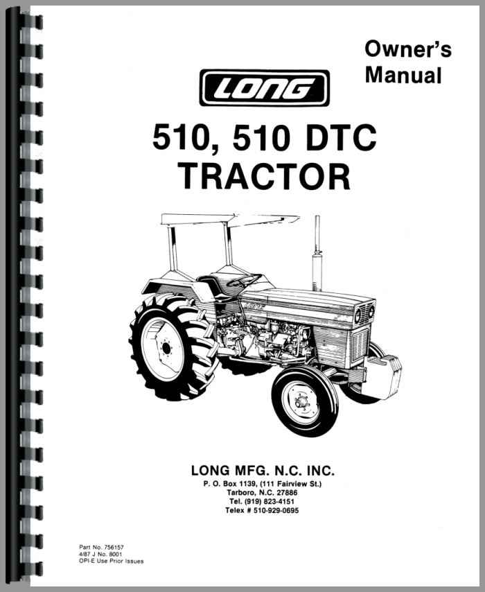 Long 510dtc Tractor Operators Manual