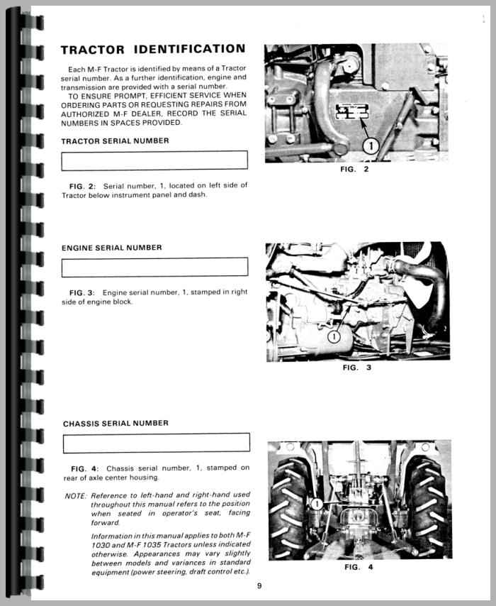 Massey Ferguson 1035 Tractor Operators Manual
