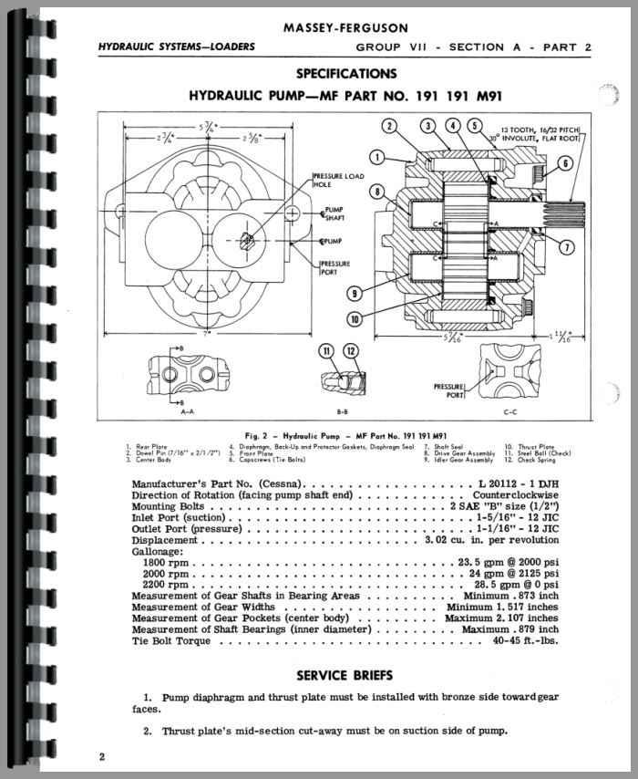 massey ferguson 203 loader attachment 100 service manual