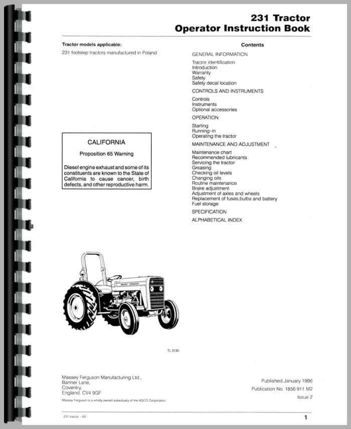 massey ferguson 231 tractor operators manual rh agkits com massey ferguson 231 service manual pdf massey ferguson 231 owners manual